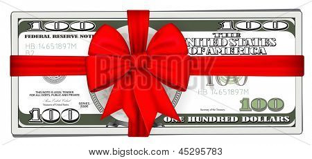 Pack of dollars tied with ribbon. Rasterized illustration. Vector version in my portfolio