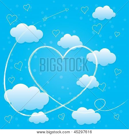 Valentines day card with hearts, arrow and clouds