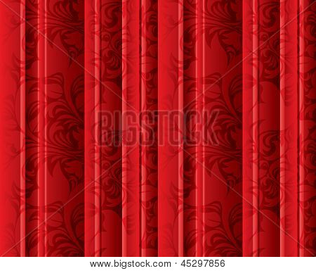 Seamless floral texture on the red curtains