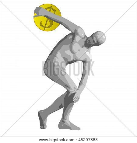 Discus Thrower With Dollar.eps