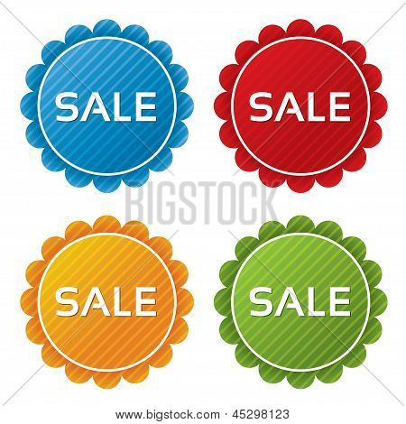Colorful sale tags with texture collection