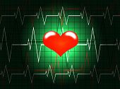 stock photo of pacemaker  - Red heart shined on a background of the cardiogram - JPG
