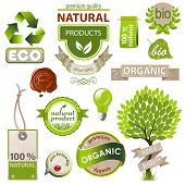 stock photo of environmental conservation  - Highly detailed ecology and nature emblems set - JPG