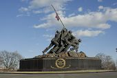 stock photo of iwo  - The Iwo Jima Memorial against a backdrop of blue sky  - JPG