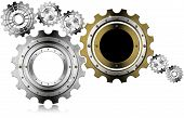 stock photo of ironworker  - Industrial background with metal and golden gears on a white background - JPG
