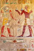 stock photo of building relief  - Relief on the wall of Queen Hatshepsut Temple in Egypt - JPG