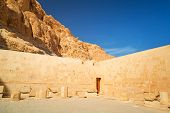 stock photo of hatshepsut  - Walls of the Temple of Queen Hatshepsut in Egypt - JPG