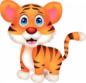 image of tiger cub  - Vector illustration of Cute baby tiger cartoon - JPG