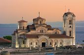foto of macedonia  - view of Saint Panteleimon Church at twilight in Old Ohrid - JPG