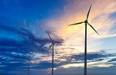 stock photo of turbines  - Green renewable energy concept  - JPG