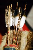 stock photo of fletching  - A quiver hanging with authentic Cherokee Arrows - JPG