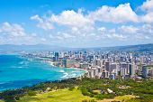 stock photo of pacific islands  - The Beautiful Skyline of City of Honolulu - JPG