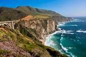picture of shoreline  - Beautiful Coastline  along the Mountains in Big Sur - JPG