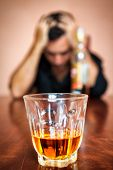 foto of hangover  - Portrait of a drunk and depressed man addicted to alcohol  - JPG