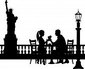Romantic couple in New York have a dinner silhouette