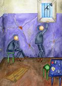 pic of prison uniform  - Two inmates in a prison cell - JPG