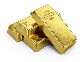 foto of billion  - Gold Bars isolated on white - JPG