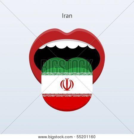 Iran language. Abstract human tongue.