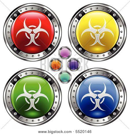 Biohazard Warning On Round Button