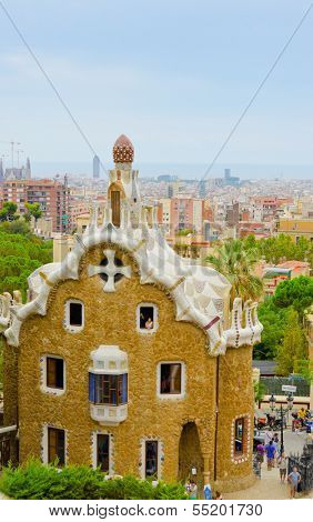 BARCELONA, SPAIN - SEPTEMBER 7: the gatehouse at the main entrance to Park Guell, on September 7, 2013 in Barcelona, Spain