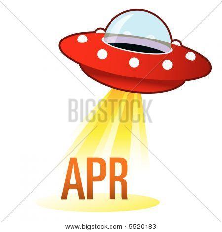 April Month Icon On Retro Ufo
