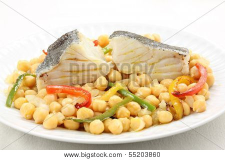 traditional christmas portuguese dish -boiled cod fish with chickpeas-mediterranean diet