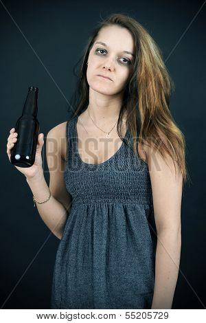 Unhappy Young Woman Addict