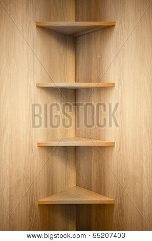 corner wooden shelves