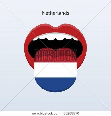 Netherlands language. Abstract human tongue.