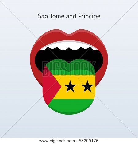 Sao Tome and Principe language. Abstract human tongue.