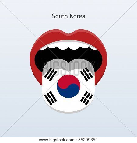 South Korea language. Abstract human tongue.