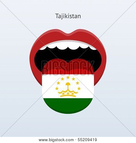 Tajikistan language. Abstract human tongue.