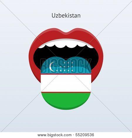 Uzbekistan language. Abstract human tongue.