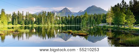 Panorama of mountain lake. Slovakia, the resort Strbske Pleso