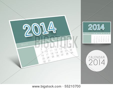 Happy New Year 2014 desk calendar or monthly planner.
