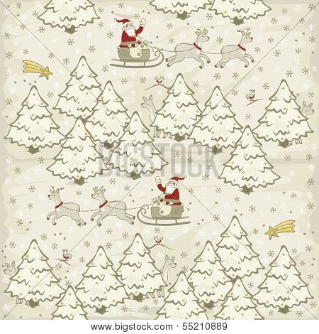 Santa Claus and reindeer sleigh in white snowy forrest winter holidays christmas in light vintage co