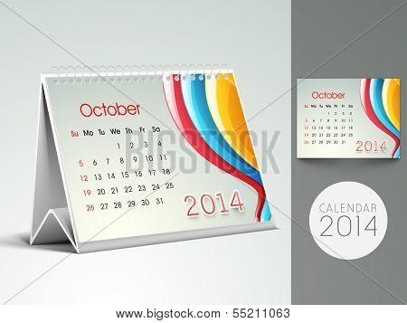 New Year 2014 desk calender or October month planner.