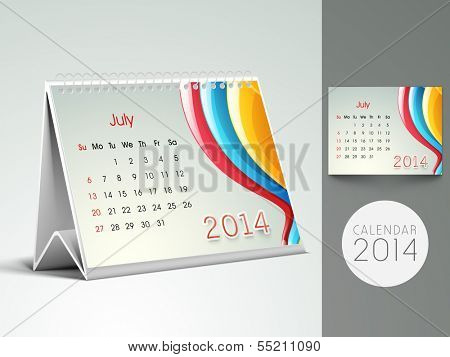 New Year 2014 desk calender or July month planner.