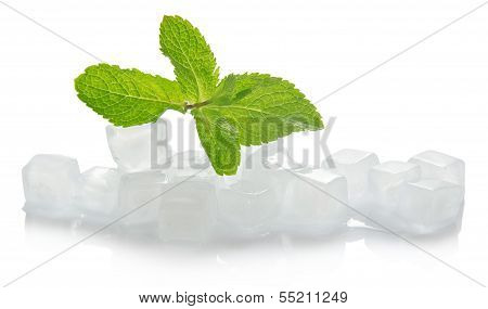 Ice for cocktail and the spearmint leaves
