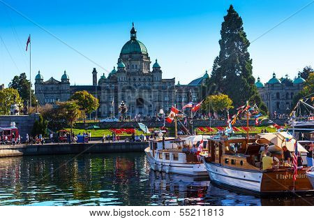 Provincial Capital Legislative Buildiing Wooden Boats Inner Harbor British Columbia Canada