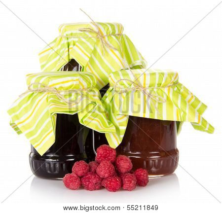 Jam and a handful of the ripe raspberry