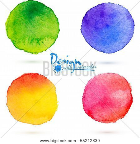 Vector aquarel cirkel spatten set