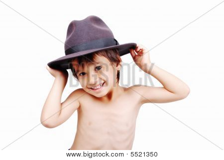 Cute Kid With Hat On Head