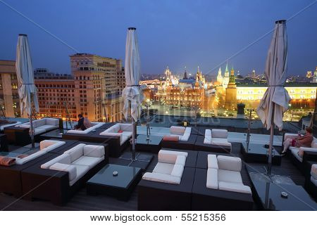 MOSCOW - MAY 3: A restaurant O2 Lounge overlooking the Red Square on the roof of the hotel The Ritz-Carlton at night, May 3, 2013, Moscow, Russia.