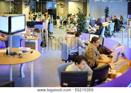 MOSCOW - MAR 5: Tables around in office buildings news agency RIA Novosti on March 5, 2013 in Moscow, Russia.
