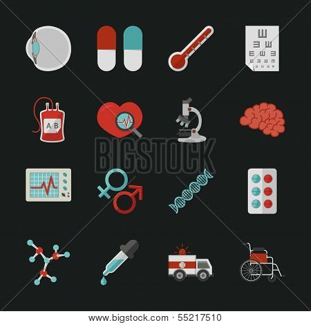 Medical and health icons with black background