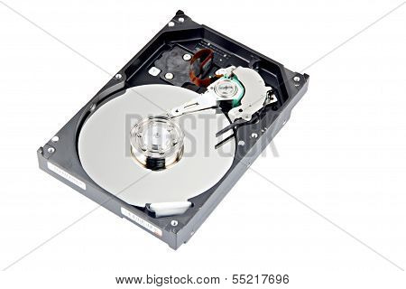 Open Harddisk On White Background.