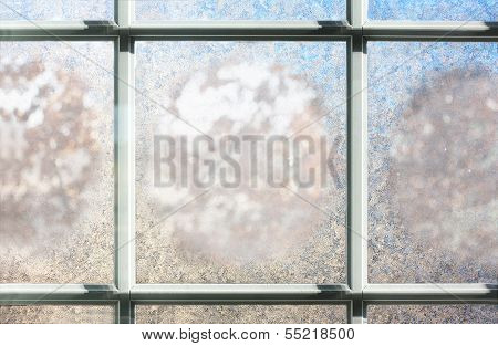 Frosted Winter Window Glass Background