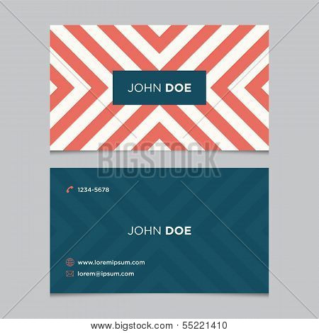 Business card template, background seamless pattern