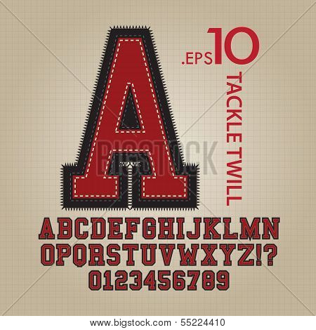 Tackle Twill Alphabet And Numbers Vector